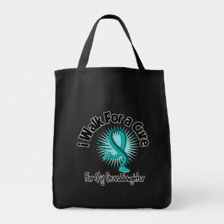 I Walk For My Granddaughter - Teal Ribbon Canvas Bag