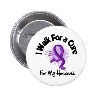 I Walk For My Husband - Purple Ribbon 2 Inch Round Button