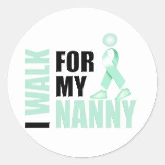 I Walk for my Nanny teal Classic Round Sticker