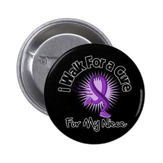I Walk For My Niece - Purple Ribbon Pinback Buttons