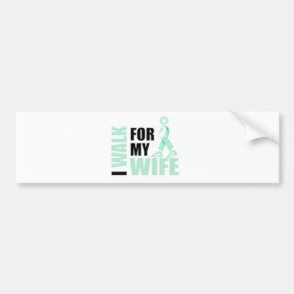 I Walk for my Wife teal Bumper Sticker