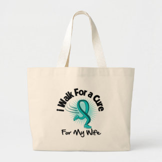 I Walk For My Wife - Teal Ribbon Canvas Bags