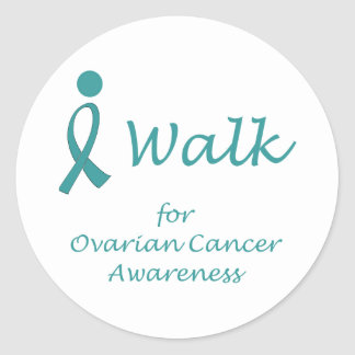 I Walk for Ovarian Cancer Awareness Classic Round Sticker