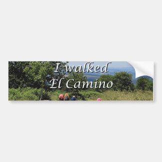 I walked El Camino, Spain (caption) Car Bumper Sticker