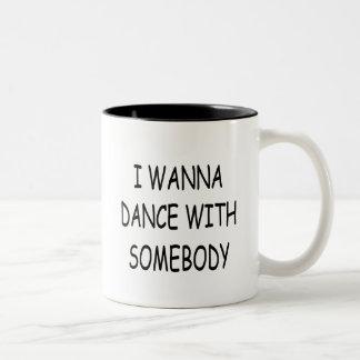 I WANNA DANCE WITH SOMEBODY black Two-Tone Coffee Mug