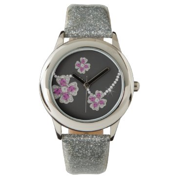 McTiffany Tiffany Aqua I Wanna Wear Diamonds Flower Girl Watch