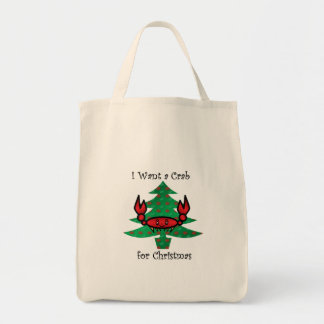 I want a crab for christmas tote bag