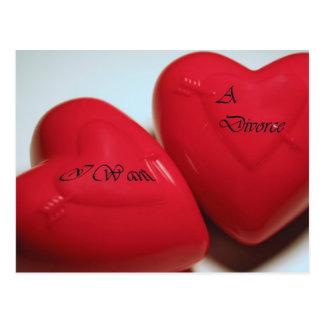 I Want A Divorce Hearts H Postcard (Fill)