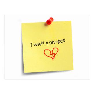 I want a divorce postcard