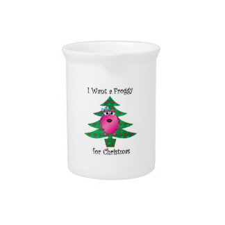 I want a froggy for Christmas Beverage Pitchers