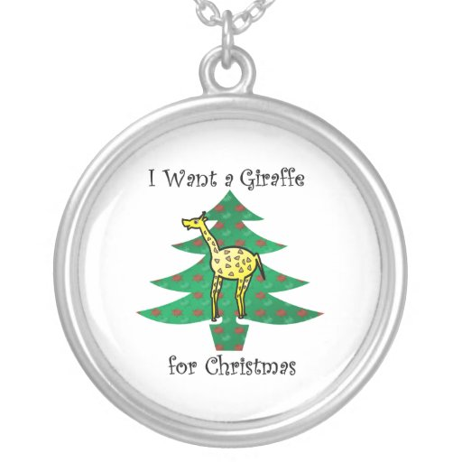 I want a giraffe for christmas round pendant necklace