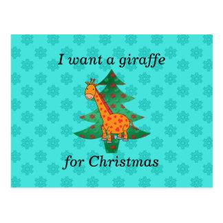 I want a giraffe for christmas postcard
