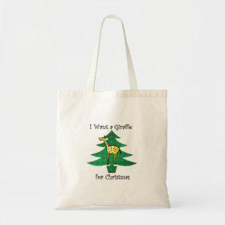 I want a giraffe for christmas tote bag