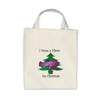 I want a hippo for christmas canvas bag