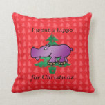 I want a hippo for christmas red christmas trees throw pillow