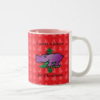 I want a hippo for christmas red christmas trees Two-Tone coffee mug