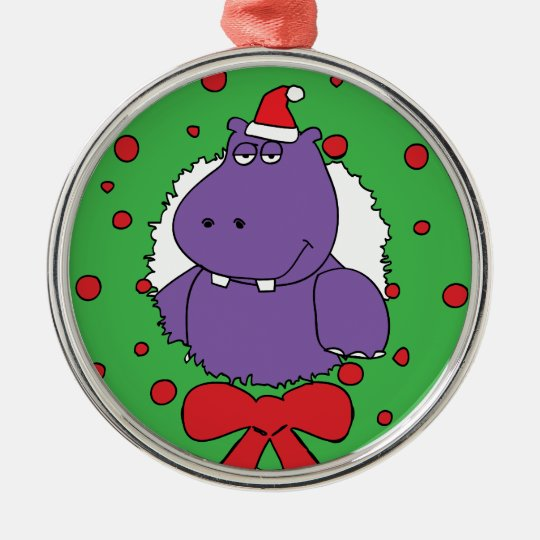 I want a Hippopotamus for Christmas Metal Ornament