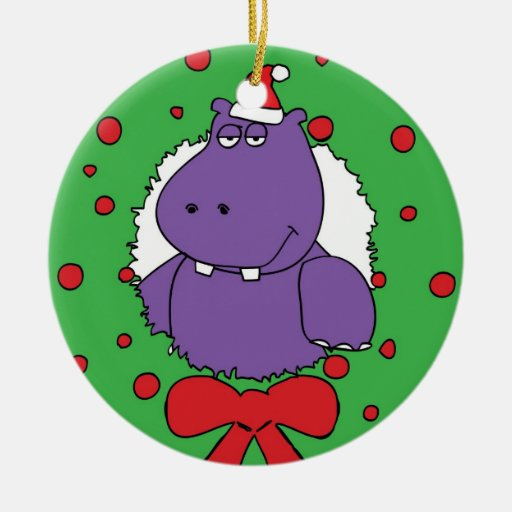 I want a Hippopotamus for Christmas Double-Sided Ceramic Round Christmas Ornament