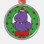I want a Hippopotamus for Christmas Round Metal Christmas Ornament