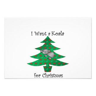 I want a koala for christmas personalized invites