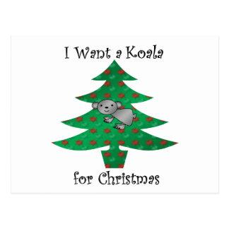I want a koala for christmas postcards