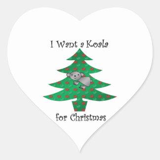 I want a koala for christmas heart sticker