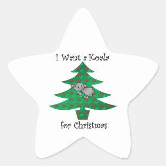 I want a koala for christmas star sticker