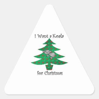 I want a koala for christmas triangle sticker