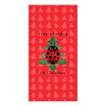 I want a ladybug for christmas red christmas trees custom photo card