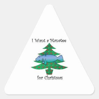 I want a manatee for christmas triangle sticker