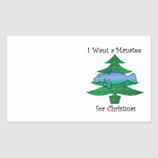 I want a manatee for christmas rectangular sticker