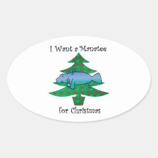 I want a manatee for christmas oval sticker