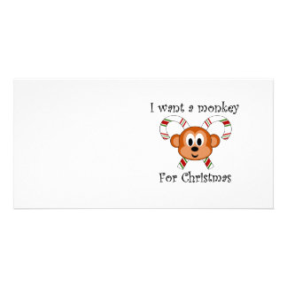 I want a monkey for Christmas Personalized Photo Card