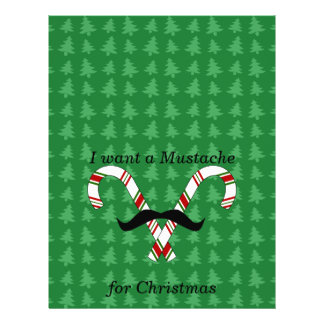 "I want a mustache for christmas candy canes 8.5"" x 11"" flyer"