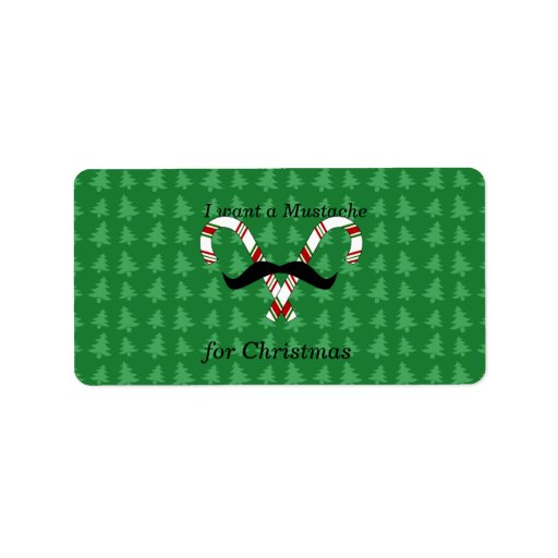 I want a mustache for christmas candy canes personalized address label