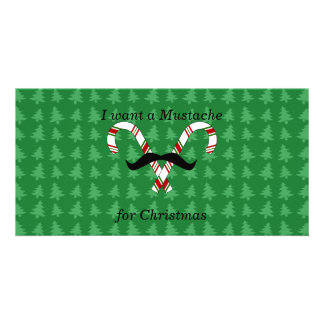 I want a mustache for christmas candy canes custom photo card