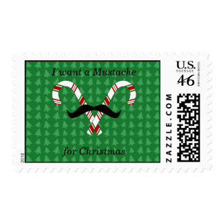 I want a mustache for christmas candy canes postage stamps