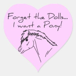 I want a pony! heart sticker