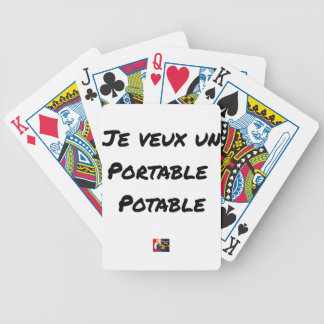 I WANT a PORTABLE DRINKABLE - Word games Bicycle Playing Cards
