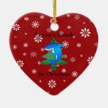 I want a shark for christmas Double-Sided heart ceramic christmas ornament