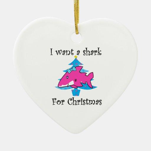 I want a shark for Christmas Christmas Tree Ornament