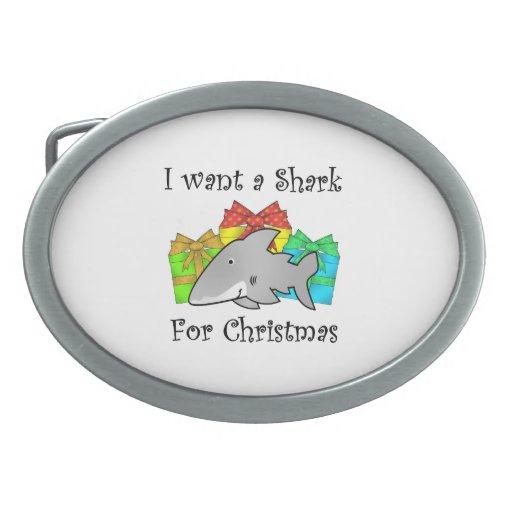 I want a shark for Christmas Oval Belt Buckle