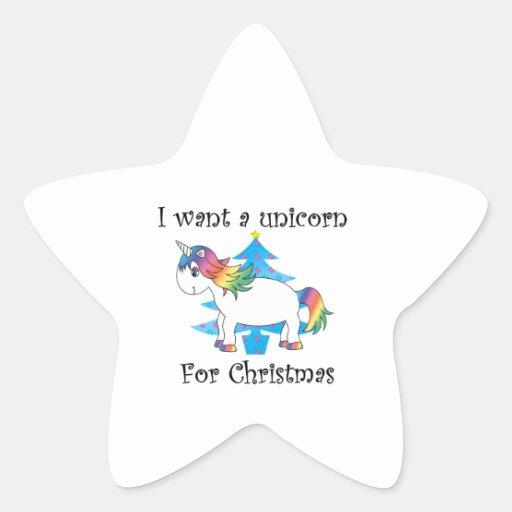 I want a unicorn for Christmas blue christmas tree Sticker