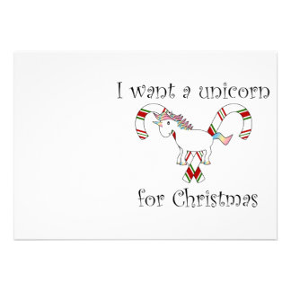 I want a unicorn for christmas candy canes invitation