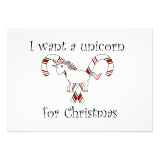 I want a unicorn for christmas candy canes invites