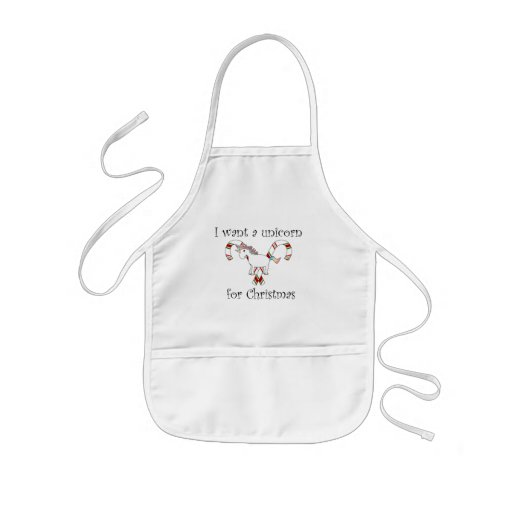 I want a unicorn for christmas candy canes kids' apron