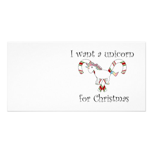 I want a unicorn for christmas candy canes photo card