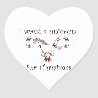 I want a unicorn for christmas candy canes heart sticker