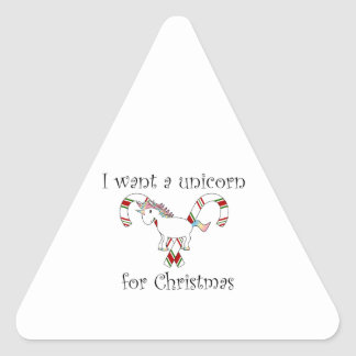 I want a unicorn for christmas candy canes triangle sticker