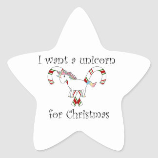 I want a unicorn for christmas candy canes star sticker